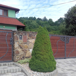 Hand-forged gate and fence with wooden filling at the family house