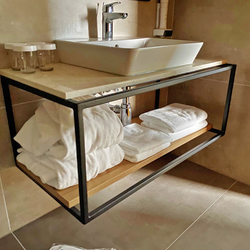 Modern bathroom shelf under the sink – a combination of metal and wood – simple design