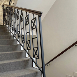 Simple metal railing with wooden handrail – interior staircase railing