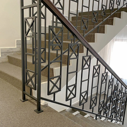 Metal railing for hotel interior staircase – modern design